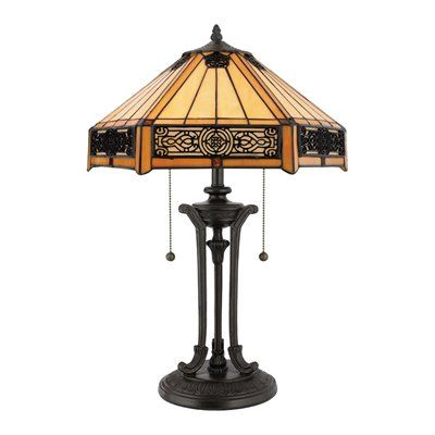 Features A Handcrafted Tiffany Art Glass Shade In A Creamy