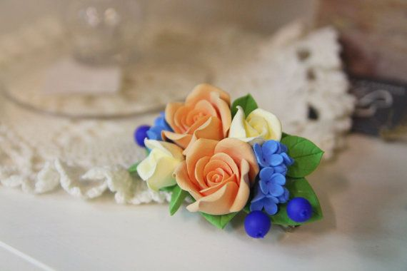 Clip di capelli del fiore, fiori fatti a mano gioielli, accessori per capelli floreale, damigella d