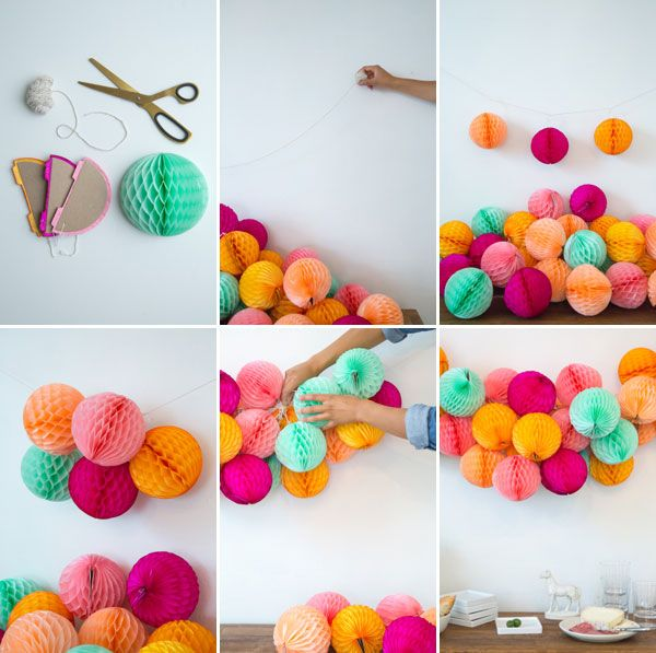 My love for honeycomb decorations will never cease >>>>> Honeycomb Garland DIY | Oh Happy Day!