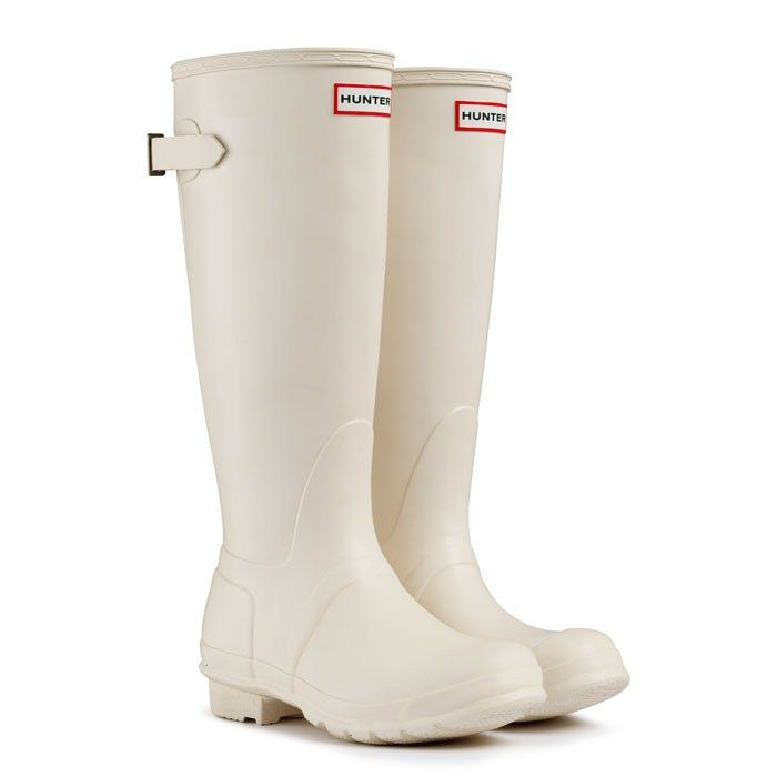 Hunters; adjustable cream wellington boot