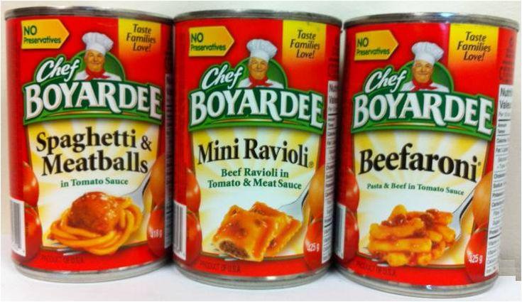 Chef Boyardee Ravioli...chicken ravioli was my favorite...miss it!!