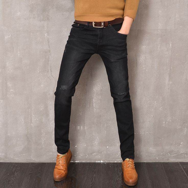 2016 Autumn Black Jeans Men Fashion Dark Skinny Jeans Pants Male Slim Fit Stretching Pencil Style Boys Denim Pant jeans homme(China (Mainland))