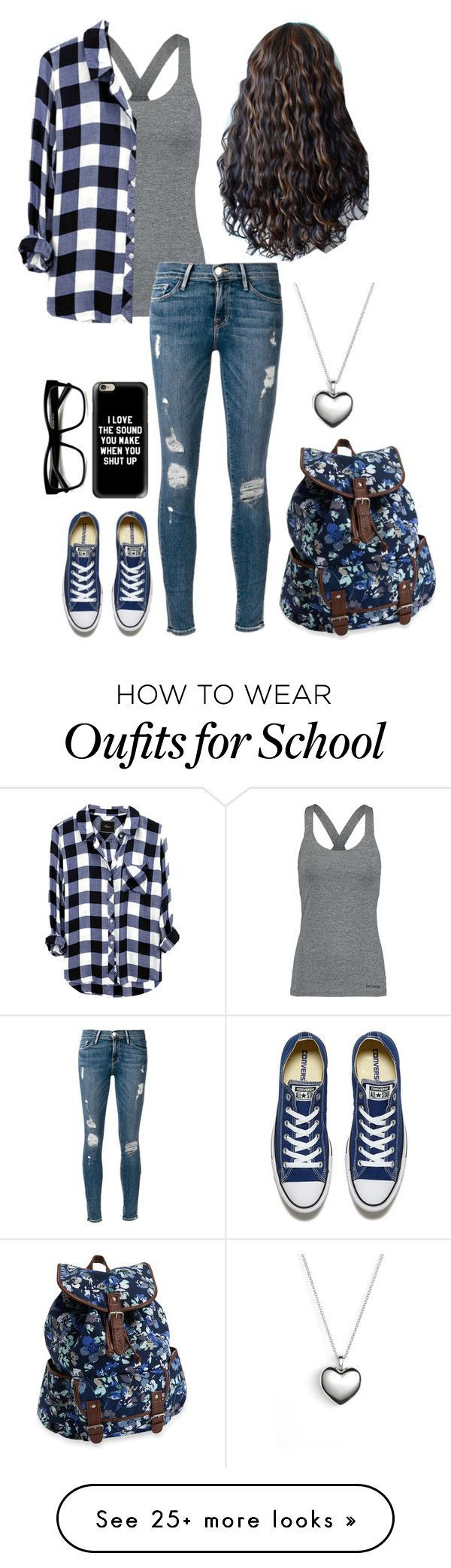 """""""School"""" by too-many-fandoms-chic on Polyvore featuring Ivy Park, Frame Denim, Converse, Retrò, Casetify, Aéropostale and Pandora"""