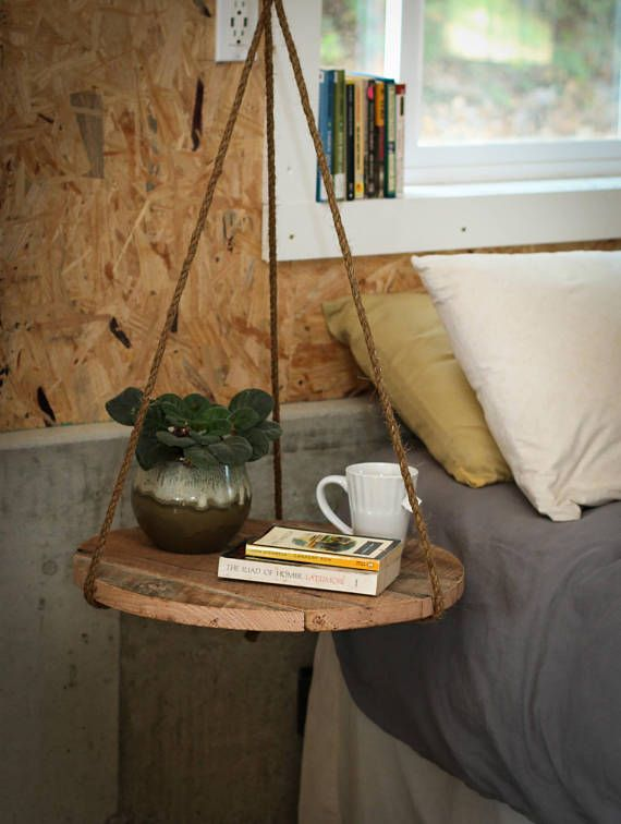 This Hanging Nightstand Side Table Is Truly Special It Clears Up Floor Space And Makes Cleaning Easy It Also Visually Declutters Small Round Wood Side Table