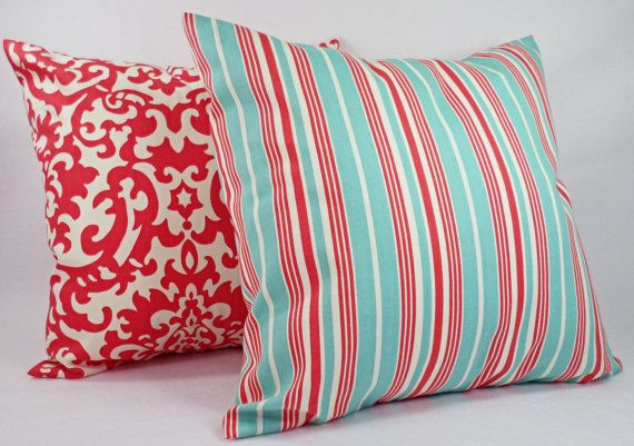 One Coral and Teal Pillow Cover Pillow Case by CastawayCoveDecor