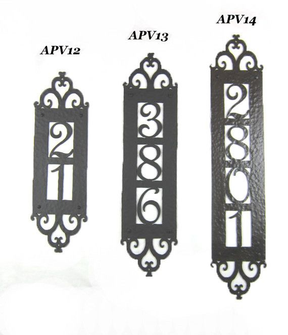 Spanish style hammered iron vertical address plaque apv1 for Spanish style house numbers