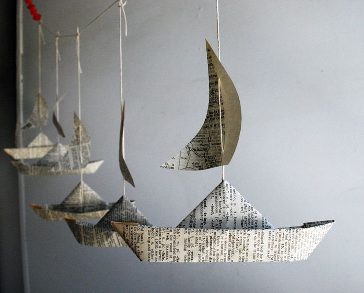 Paper Boat Garland, Dictionary pages, Party Decor, 5 Fun Paper Boats with sails, Bon Voyage Ornament, Travel Decoration by PaperAltar on Etsy