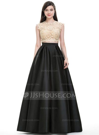 [US$ 171.49] Ball-Gown Scoop Neck Floor-Length Satin Prom Dress With Sequins