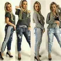 Calça Destroyd Hot Pants Saruel Feminina Jeans Com Moleton