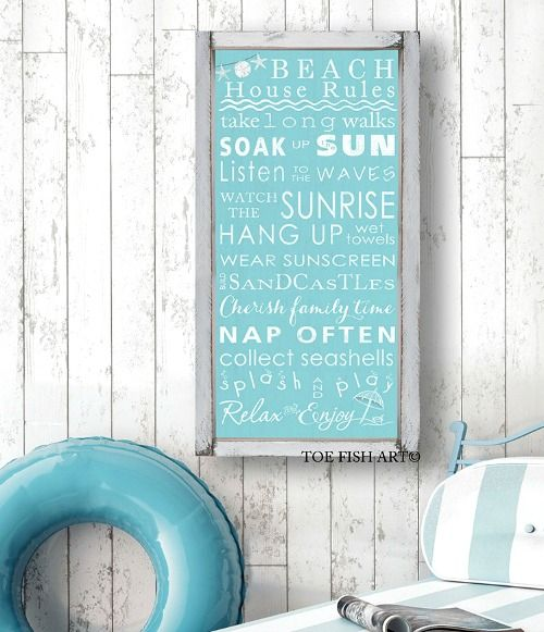 Beach House Rules Framed: http://www.completely-coastal.com/2016/08/beach-rules-wall-decor-signs-prints.html Beach House Rules Sign with Wood Frame for your Wall.