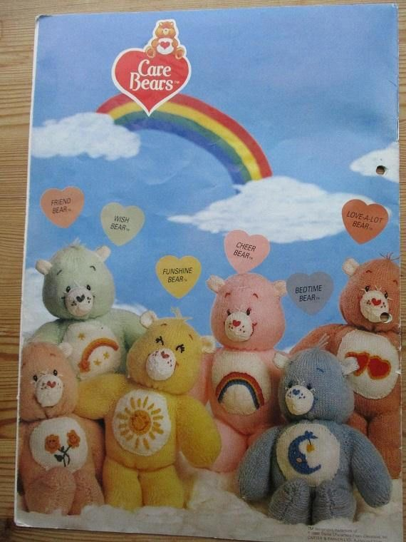 Retro Care Bears knitting original vintage pattern wendy