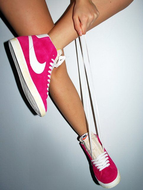 Nike high top blazers -I hate pink, but these would be cute in Mint!