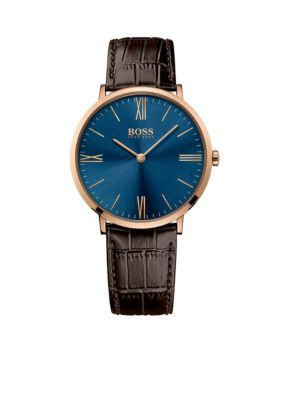 BOSS by Hugo Boss  Silver-Tone Blue Dial with Rose-Gold Indexes Brown Leather Strap Watch