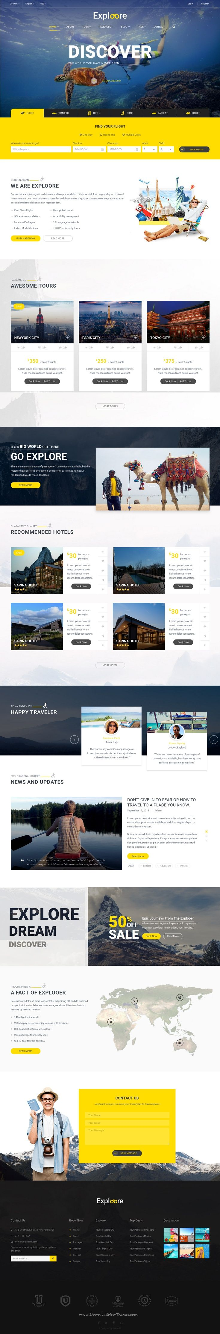 Exploore is a modern & fully responsive bootstrap template which has been designed for #travel #website, travel agency, travel blog, #tour operators, hotel, etc.