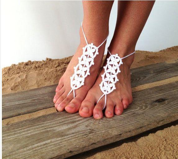 Crochet barefoot sandals, Hippie foot Thongs, Sun foot crochet, foot jewelry, yoga, anklet ,