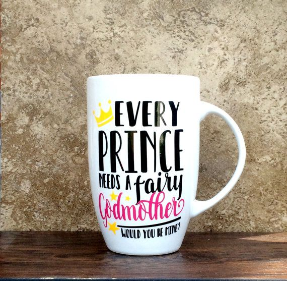 This 6 tall 21oz classic white ceramic Fairy Godmother Mug is fully customizable! It would make the perfect gift for your best friend who you want to make your childs godmother. Think about all the different ways to ask. This is the cutest coffee cup and would make the sweetest gift. Any godmother would be honored!  This listing is for the product you see pictured above.  All items are handmade with tender love and care! It involves many steps to make! All orders are on a 3-5 day week turn…