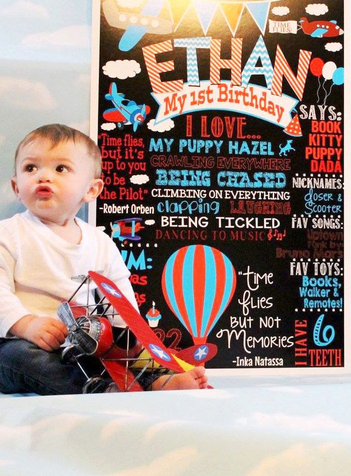 Time Flies Birthday Party theme decoration & ideas; time flies birthday chalkboard, things that fly theme, plane birthday, balloon birthday by CustomPrintablesNY on Etsy https://www.etsy.com/listing/220559312/time-flies-birthday-party-theme