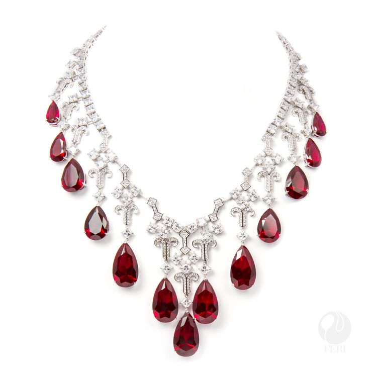 "FERI - Secret Obsession Necklace - Exclusive FERI 950 Siledium silver - Exclusive dual natural rhodium and palladium plating - Set with exclusive FERI Swan cut lab stones - Colour: white and ruby colour - Dimension: Inner length 150mm (6""), outer length 230mm (9.1""), with 100mm extender (4""), stone 25mm x 16mm (1"" x 0.6"") - 150.3/gm/wt. - stns:PS.16X8,17X10,18X13, SQ.5MM  Invest with confidence in FERI Designer Lines.   www.gwtcorp.com/ghem or email fashionforghem.com for big discount"