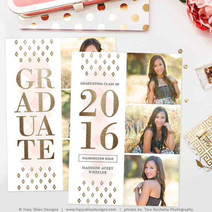 Graduation Announcement Template for Photoshop #photography #photographers #senior #card