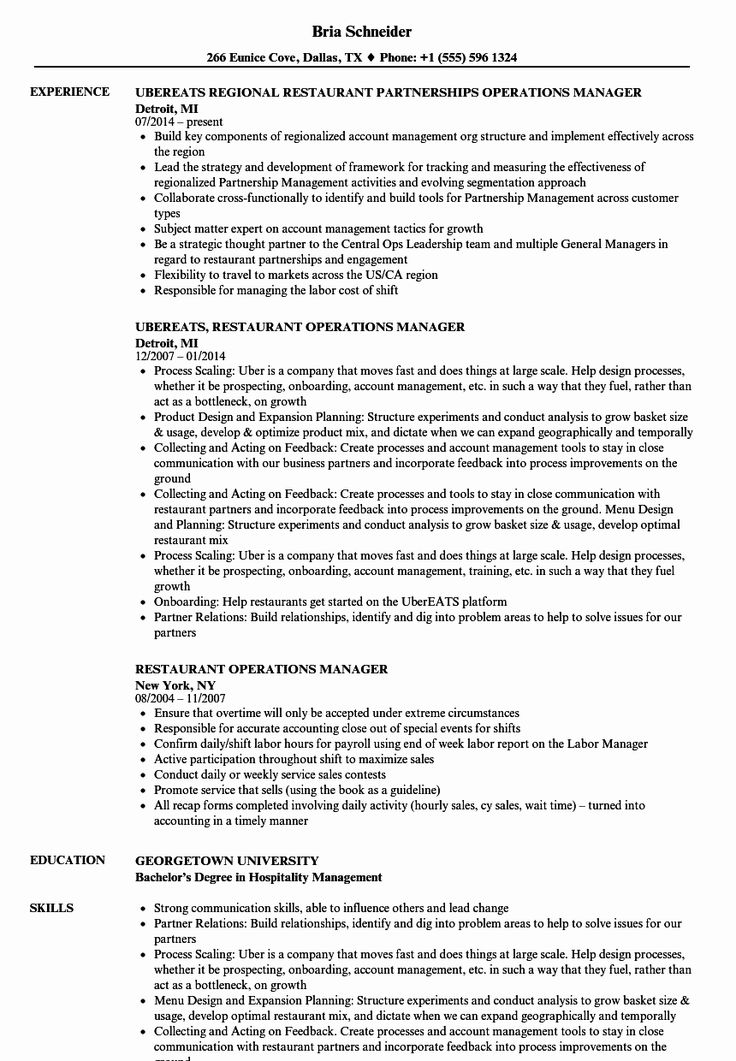Operations Manager Resume Examples Beautiful Restaurant