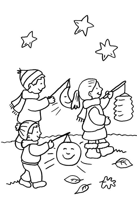 Ausmalbild Kindergarten: Kinder beim Laternenumzug kostenlos ausdrucken