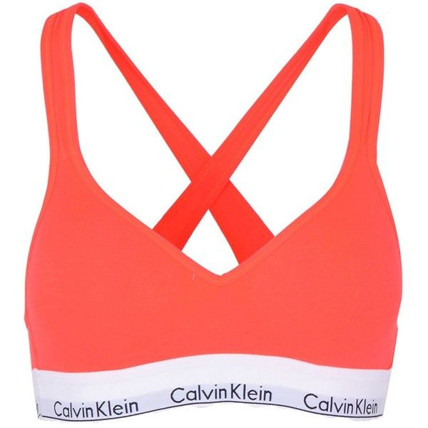 Calvin Klein Underwear Bra ($46) ❤ liked on Polyvore featuring activewear, sports bras, coral, red jersey, padded sports bra, neon activewear, logo sportswear and neon sports bra