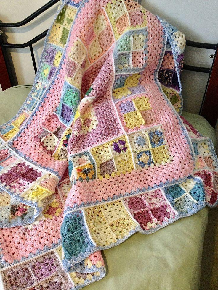 Pastel Granny Square Crochet Blanket/Crochet Throw/Crochet Afghan by NoonansNook on Etsy