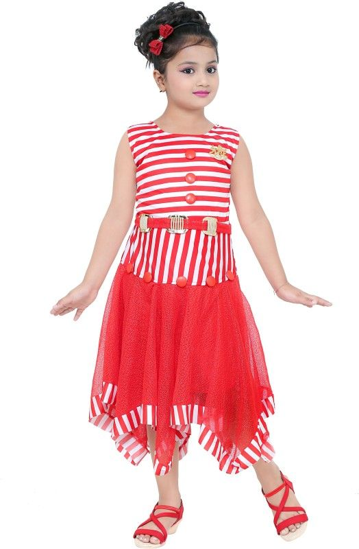 d6813b507a1 FTC FASHIONS Girls Midi/Knee Length Casual Dress (Multicolor, Sleeveless)  #priceonline #india #shopping