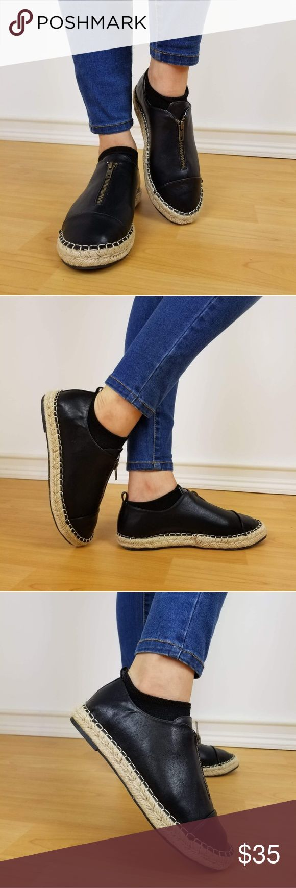 black slip on shoes black shoes Black loafer faux leather slip on shoe .  -comfort insoles - suggested to size up half a size -cute espadrille stitching  -functioning zipper for easy slip of foot see pics please like it send an offer  thank you for shopping! Shoes