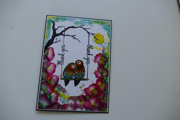 gebruikte materialen clarity stempels alcohol inkt lamineerapperaat, alle producten zijn verkrijgbaar bij www.hetcreatievezwaantje.com