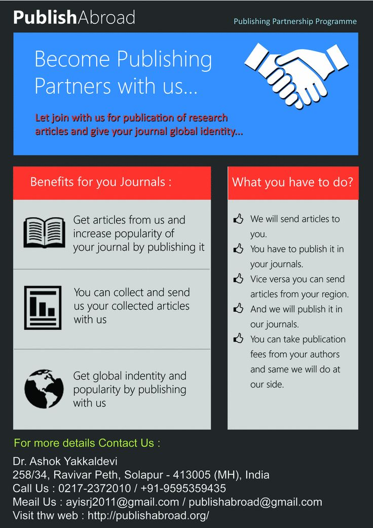 PublishAbroad will help you to publish your article with several foreign journals in several countries.  We will guide what foreign journals can expect from research authors and the steps to publish your article in their journals.