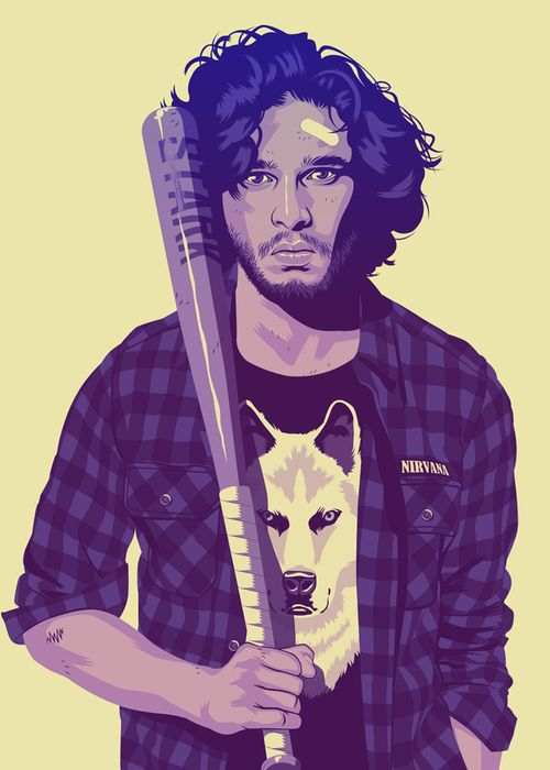 """Jon Snow ~ """"French graphic designer Mike Wrobel designed those absolutely awesome Game of Thrones portraits… If they were from the 90s. I just love the concept, and can't wait for more characters. For now we have Daenerys, Jon, Jaime and Joffrey."""""""