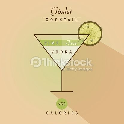 Vector Art : vodka gimlet cocktail with lime- vector illustration recipe