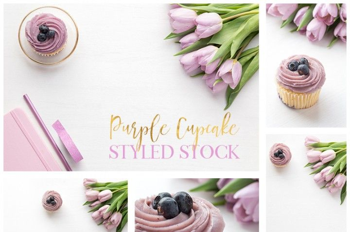Styled Stock Photo bundle of 5 images Purple Cupcake and Tulips styled desktop,  image bundle These can be used for your business in websites, blogs, online shops, etc.