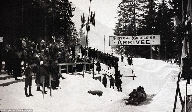 Sport, 1924 Winter Olympic Games, Chamonix, France, A general view at the Bobsled track with the Italy four man bobsled pictured  (Photo by ...