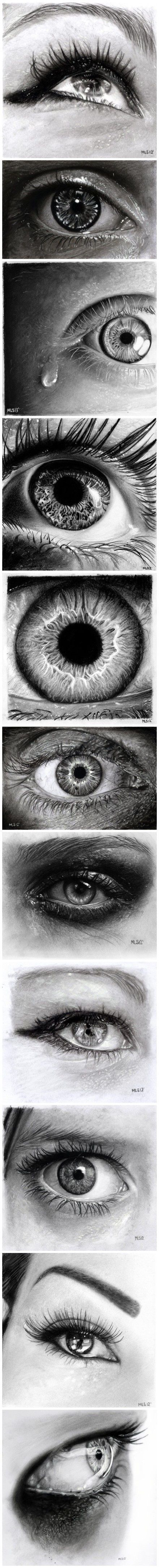 Pencil drawings of eyes. Not sure who drew them.