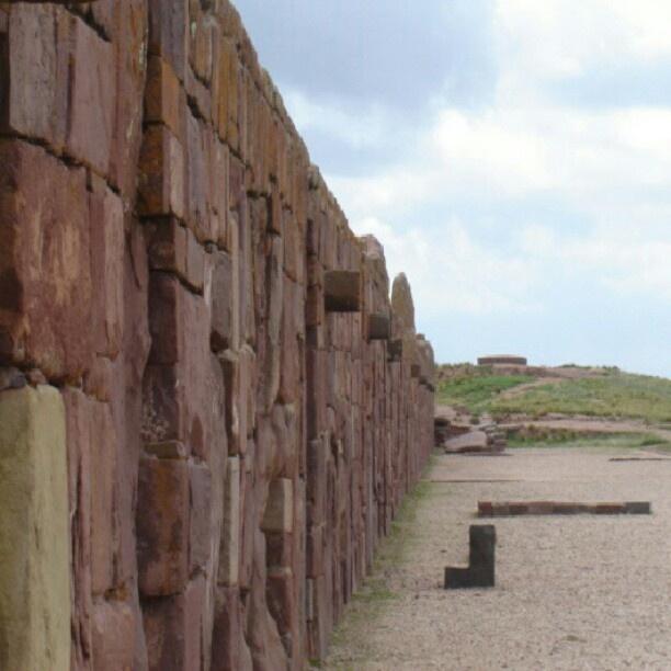 UNESCO World Heritage Site.                      Ancient ruins. #Wall of Pumapunku Temple. Tiwanaku, BOLIVIA