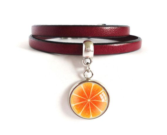 Leather strap bracelet, burgundy wrap bracelet for women, orange picture charm bracelet, glass dome photo fruit jewelry, dark red leather