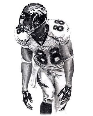 demaryius thomas pencil drawing lithograph poster prt in