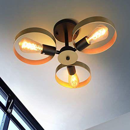 Zmh Vintage Deckenleuchte Wohnzimmer Deckenlampe Modern Dimmbare 360adrehbar 3 Ringe E27 De Deckenbeleuchtung Deckenlampe Schlafzimmer Deckenleuchte Wohnzimmer