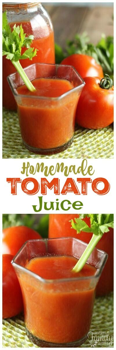 This Homemade Tomato Juice tastes similar to V8 but is SO much better! Delicious served as a beverage but can also be used in recipes or as a soup base! via @favfamilyrecipz
