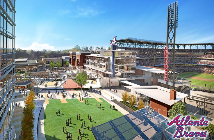 Renderings of SunTrust Park, the future stadium of Atlanta Braves, located in the Cumberland area of Cobb County, Georgia, northwest of Atlanta. The Braves are scheduled to begin the 2017 season there.