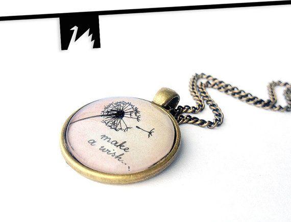Dandelion Pendant Dandelion Seed Necklace Original Ink Painting TotemSwan artistic jewelry