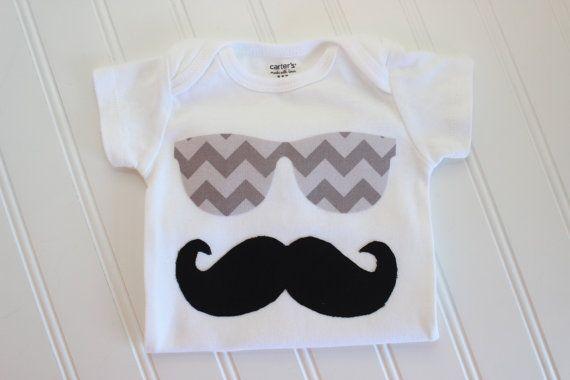 Mustache & Sunglasses Onesie - Sunglasses Onesie - Baby Boy Clothing - Boy…