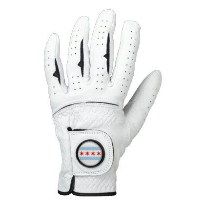 Leather Golf Glove with Flag of Chicago City USA - elegant gifts gift ideas custom presents