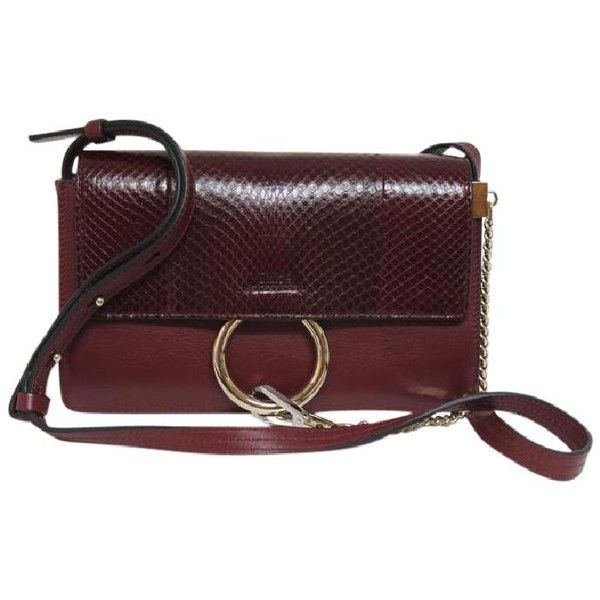 Chloé New Chloe Faye Small Snake Leather Wine Cross Body Bag ($159) ❤ liked on Polyvore featuring bags, handbags, shoulder bags, leather purses, leather crossbody purse, leather cross body purse, wine purse and red leather crossbody