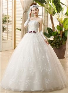 Sleeveless All Sizes Natural Lace Church Ball Gown Spring Floor-Length Wedding Dress