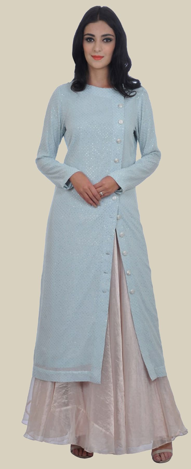 Powder Blue Pure Georgette Mukaish Embroidered Long Kurta With Skirt