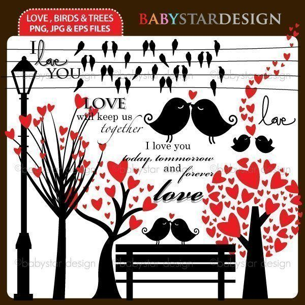 Love, Birds and Trees Clipart | Mygrafico | Mygrafico