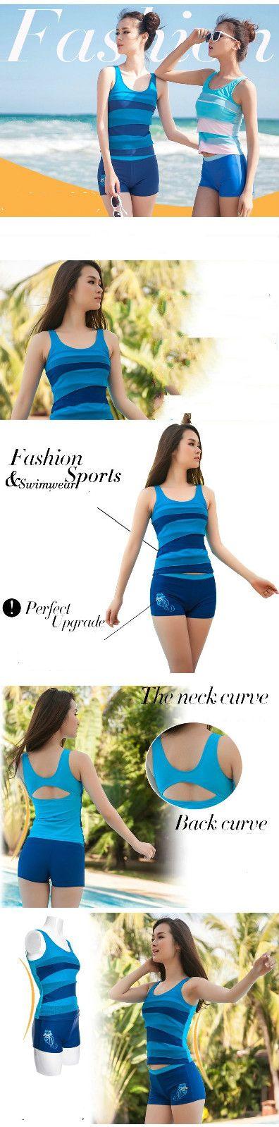 Мода женщин купальник из двух частей новый модест плавательные костюмы для спортивных женские спортивные топы и краткосрочный плавать свободного покроя WO HZB001 купить на AliExpress